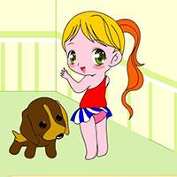 Гра Розфарбуй дівчинку і її цуценя