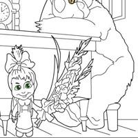 Розфарбуй Машу і Ведмедя