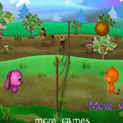 Гра справжній волейбол: Зайчик і котик