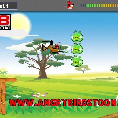 Гра Зла пташка на вертольоті обходить пастки