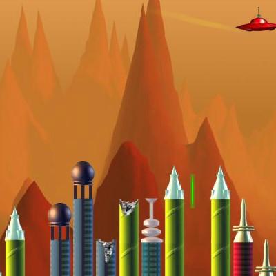 Гра Леталка на тарілці НЛО з руйнуванням міста