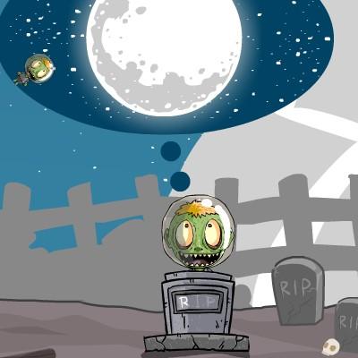 Гра Леталка з рогатки: Відправ Зомбі на Місяць