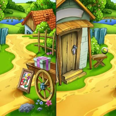 Гра Знайди 5 відмінностей на двох кольорових картинках російською