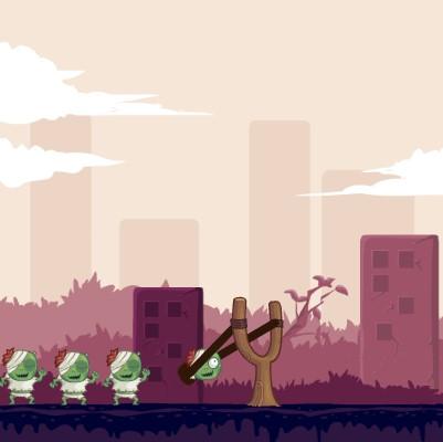 Гра Стрільба з Рогатки: Злі Зомбі проти людей