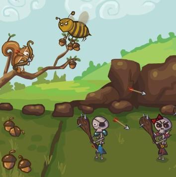 Гра Лучник Білка проти Монстрів: Захист Горішків