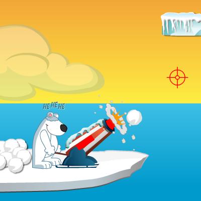 Гра Стрілялка з Гармати: Білі Ведмеді проти Пінгвінів