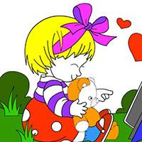 Гра Розмальовка: Дівчинка з котом