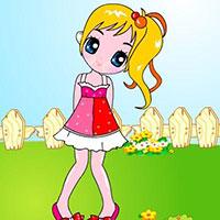 Гра Розмальовка: Дівчинка в саду