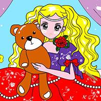 Гра Розмальовка: Дівчинка з іграшками