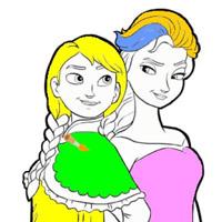 Гра Холодне серце розмальовка: Ельза і Ганна