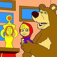Гра Розфарбуй Машу і Ведмедя
