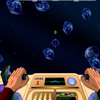 Гра Леталка на шатлі через астероїди