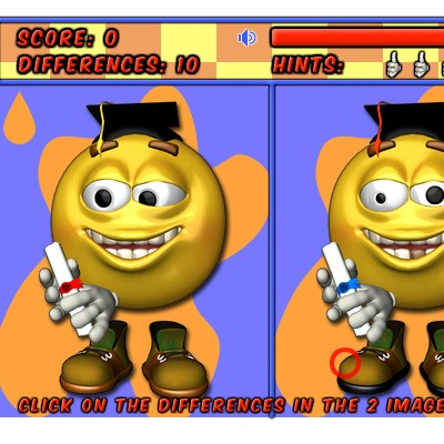 Гра Знайди 10 відмінностей на картинках смайликів