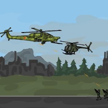 Гра Військовий Вертоліт проти армії солдатів