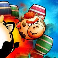Гра Супер корова: Стрільба по бочках!