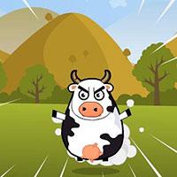 Гра Супер корова стрибає на ворогів